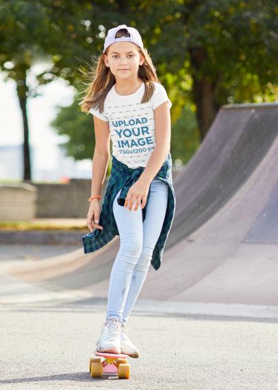T-Shirt Mockup of a Girl Skating at a Park M7826-r-el2