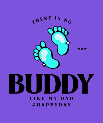 T-Shirt Design Template with Baby Footprints for a Father's Day Celebration 3668l