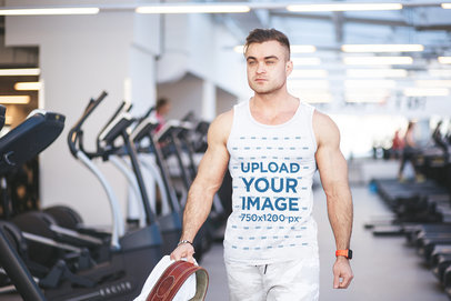 Tank Top Mockup of a Strong Man Arriving at the Gym m5878-r-el2
