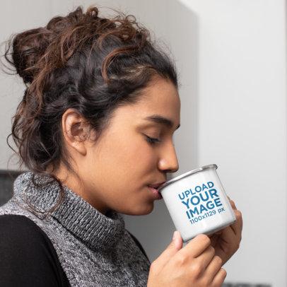 12 oz Enamel Mug Mockup Featuring a Woman Taking a Sip of Coffee 30836a