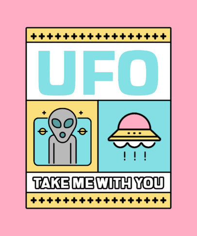 T-Shirt Design Maker With a UFO Day Theme and an Alien Spaceship Clipart 3961-el1