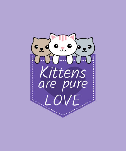 T-Shirt Design Maker with Cute Cats in a Pocket 31e
