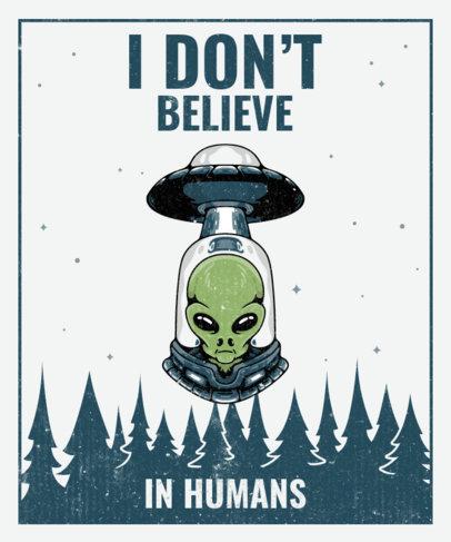 T-Shirt Design Template Featuring UFO Illustrations 3963-el1