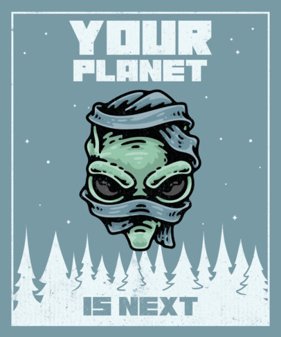 Illustrated T-Shirt Design Template for UFO Day with a Martian Head 3963d-el1