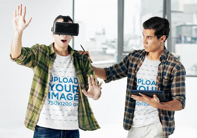 T-Shirt Mockup of Two Young Men Trying out a VR Headset 42323-r-el2