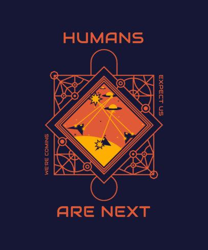 Illustrated T-Shirt Design Template a Galactic War 3957e-el1