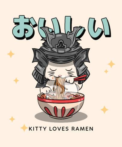 T-Shirt Design Template Featuring a Kitten with a Samurai Helmet Eating Ramen 3687d