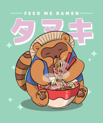 Illustrated T-Shirt Design Creator with a Chubby Character Eating Ramen 3687g