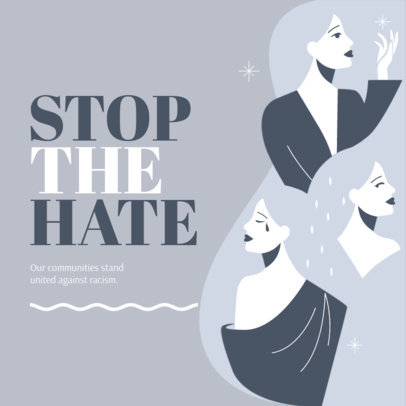 Illustrated Instagram Post Generator for a Stop Asian Hate Campaign Featuring a Quote 3701f