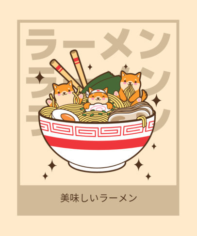 T-Shirt Design Creator with a Kawaii Graphic of Puppies in a Giant Ramen 3689b