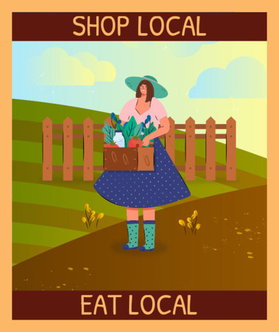 Tote Bag Design Template Featuring an Illustrated Female Farmer 3692a