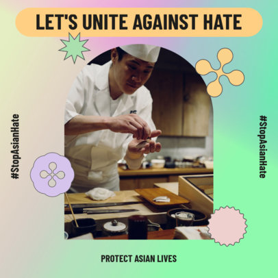 Instagram Post Design Template Featuring a Stop AAPI Hate Message 3702e