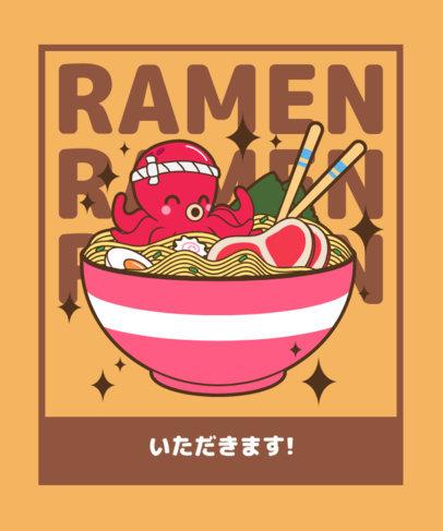 T-Shirt Design Maker Featuring a Bowl of Ramen a Kawaii Octopus 3689a