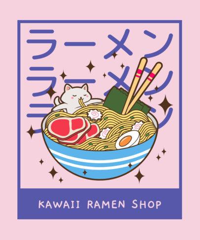 T-Shirt Design Maker with a Kawaii Graphic of a Giant Bowl or Ramen 3689e
