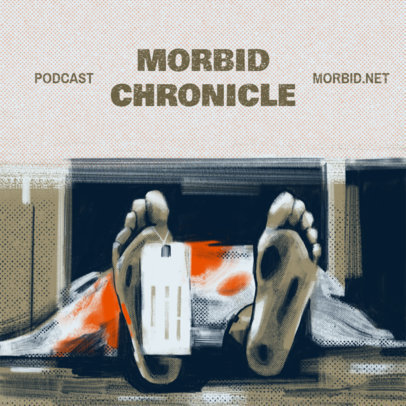 Podcast Cover Template Featuring an Illustrated Morgue Background 4359h