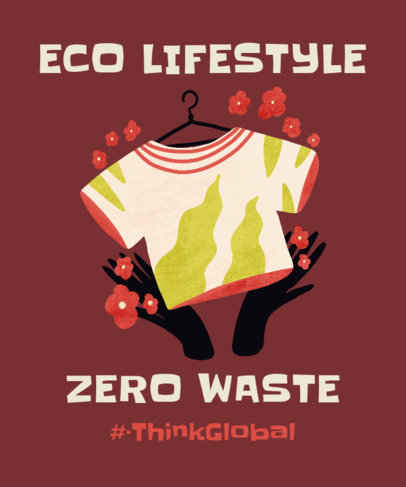T-Shirt Design Maker for a Zero Waste Campaign Featuring Colorful Graphics 3695d