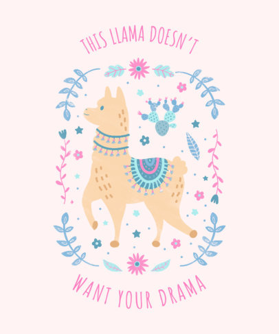 T-Shirt Design Maker Featuring Floral Graphics and a Cute Llama Illustration 3716