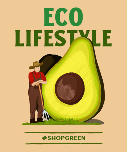 T-Shirt Design Template with an Eco Lifestyle Theme 3694d