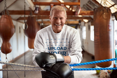 Sweatshirt Mockup Featuring a Senior Man at a Boxing Gym 41836-r-el2