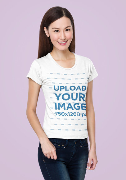 Basic T-Shirt Mockup Featuring a Long-Haired Woman Standing Against a Plain Backdrop m7342-r-el2