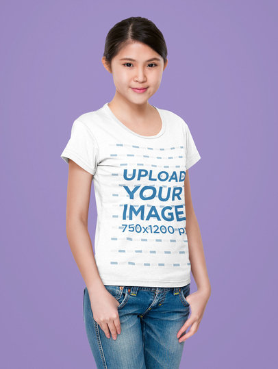 Mockup of a Woman Posing with a Scoop-Neck Tee in a Studio m7346-r-el2