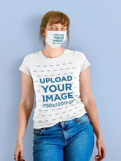 Face Mask and T-Shirt Mockup of a Woman Standing Against a Plain Color Backdrop m2211-r-el2