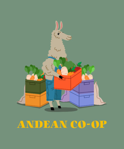 T-Shirt Design Template Featuring a Llama Working at a Grocery Store 3720d