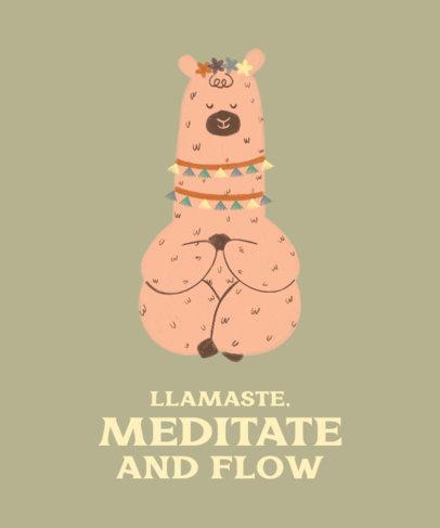 Quote T-Shirt Design Maker Featuring an Illustration of a Llama Meditating 3719d
