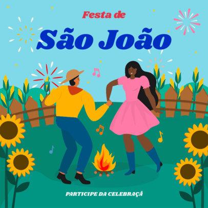 Colorful Instagram Post Creator with Festa de São João Graphics 3713c
