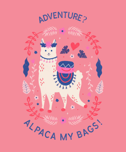 T-Shirt Design Template With a Cute Alpaca Graphic and a Pun 3716c