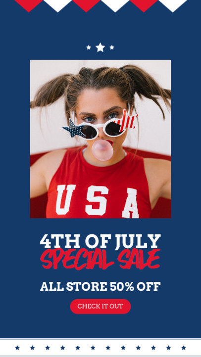 Instagram Story Template for a Special Sale Featuring a 4th of July Theme 3992b-el1