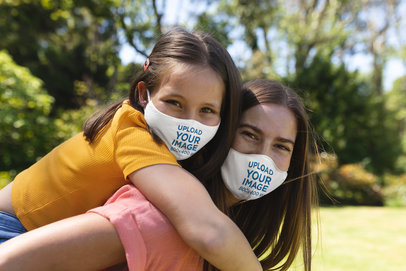 Face Mask Mockup Featuring Mother and Daughter Playing Together 45492-r-el2