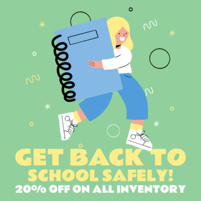 Instagram Post Design Maker for a Back to School Sale and Illustrated Characters 3728e