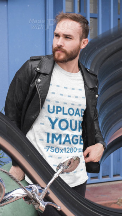 T-Shirt Video of a Bearded Man Biker with Cool Animations 3317v