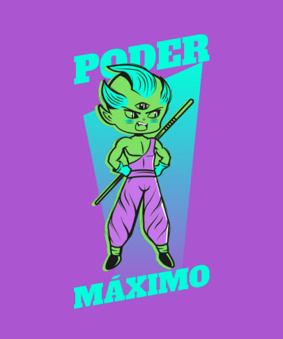 T-Shirt Design Maker with a Warrior Cartoon in the Style of Dragon Ball 4385B