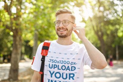 T-Shirt Mockup of a Bearded Man with Brackets M8401-r-el2