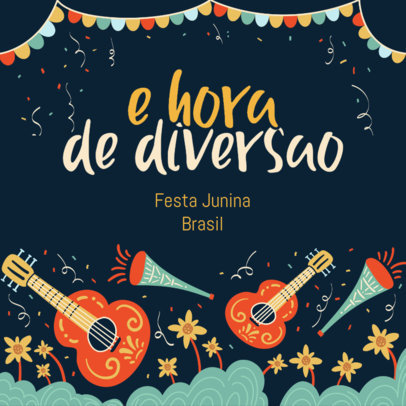 Instagram Post Template with Illustrated Instruments for a Festa de São João Celebration 3714f