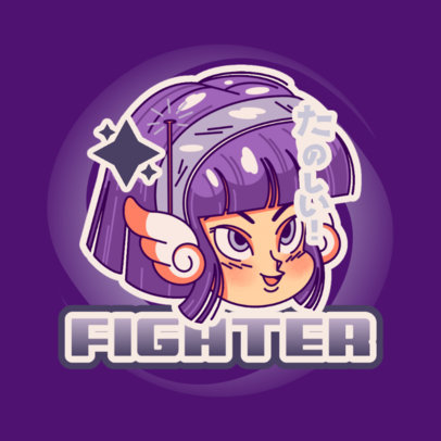 Feisty Logo Template Featuring a Heroine Inspired by Dragon Ball 4376n
