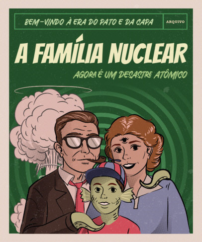 Vintage T-Shirt Design Creator with an Ironic Graphic of a Nuclear Family 3723b