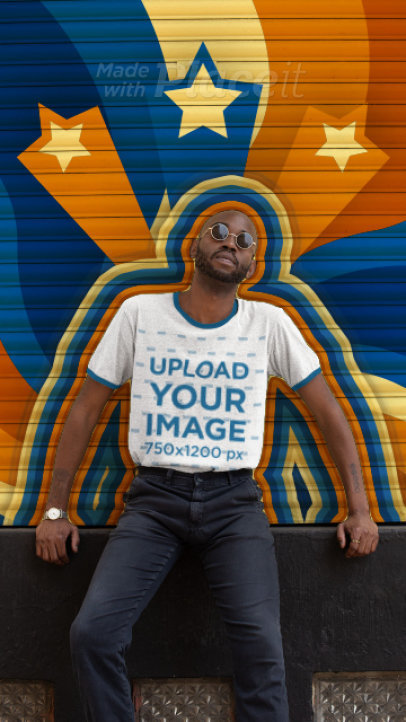 Ringer T-Shirt Video of a Man Featuring Retro Animations 3309v