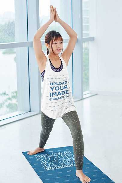 Heather Tank Top Mockup of a Woman with Bangs on a Yoga Mat m8477-r-el2