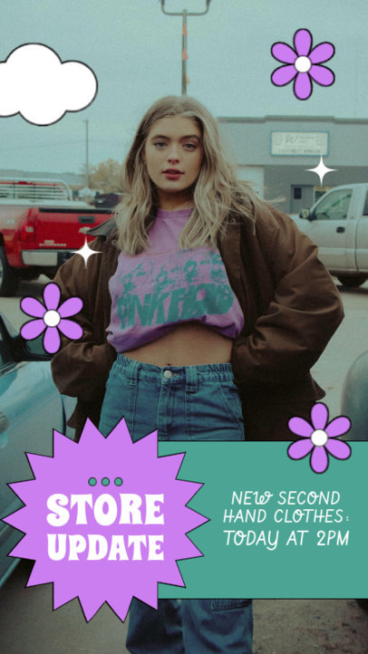 Instagram Story Template to With a Second-Hand Clothing Theme 4033f-el1