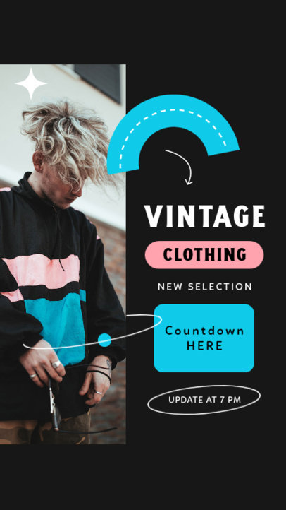 Instagram Story Design Template Featuring a Retro Layout for Clothing Brands 4037a-el1