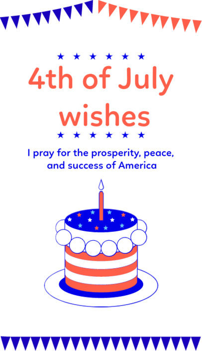 Instagram Story Maker With a 4th of July Quote and a Cake Clipart 3752f