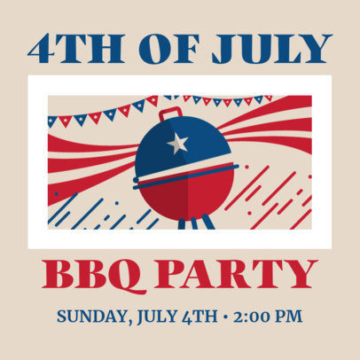 4th of July-Themed Instagram Post Maker for a BBQ Party Invitation 3753c