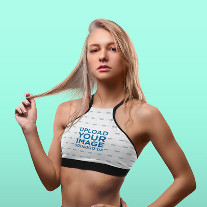 Sports Bra Mockup of a Bold-Looking Young Woman 38555-r-el2
