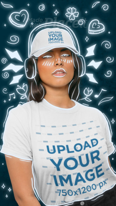 T-Shirt and Dad Hat Video Featuring a Woman and Music-Related Doodles 3300v