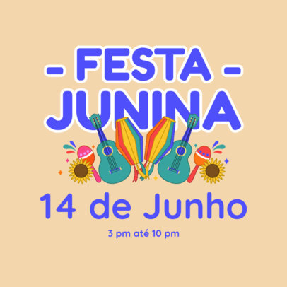 Instagram Post Template with a Festa Junina-Themed Graphic 3715d