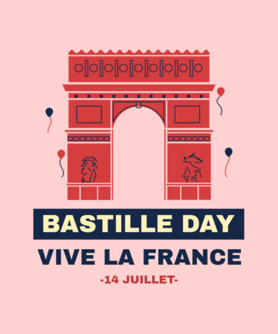Holiday T-Shirt Design Template to Celebrate France's Bastille Day 3770
