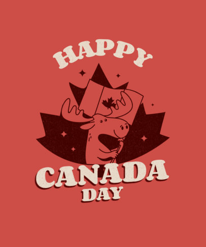Canada Day T-Shirt Design Maker Featuring Cartoon Animals over Maple Leaves 3775